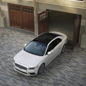 2020 Lincoln Continental is shown emerging from a garage
