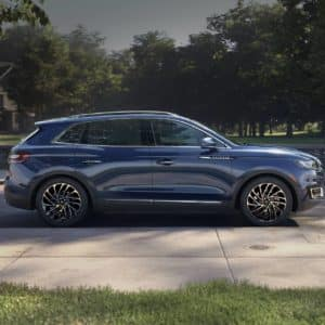 2020 Lincoln Nautilus in the Rhapsody Blue parked on a street