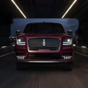 2020 Lincoln Navigator driven through a dark tunnel