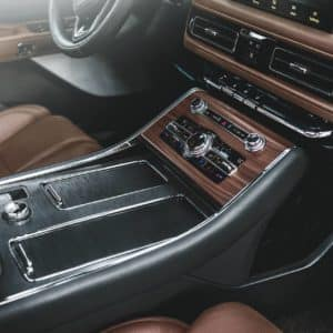 Center console highlights aviation inspired materials