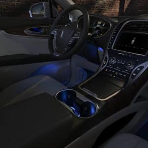 Inside of a 2020 Lincoln Nautilus glows with cool blue ambient light