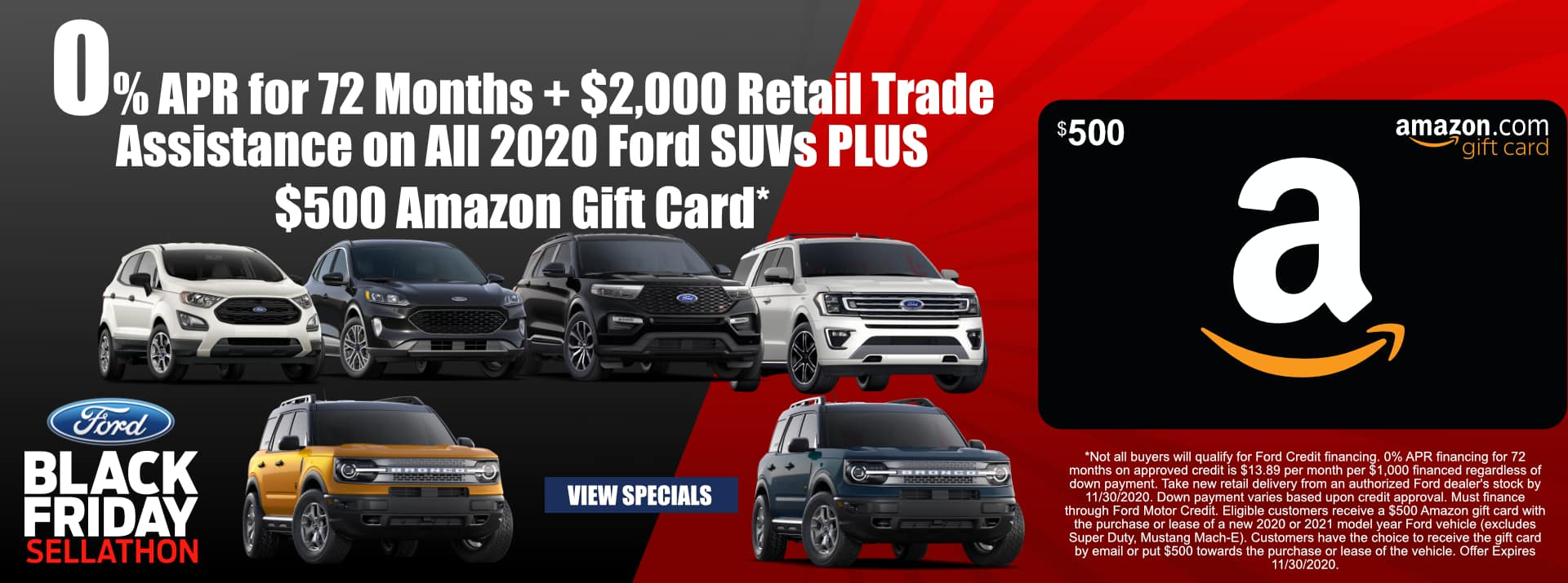 November-2020 Black Friday $500 Amazon Card SUV PSF