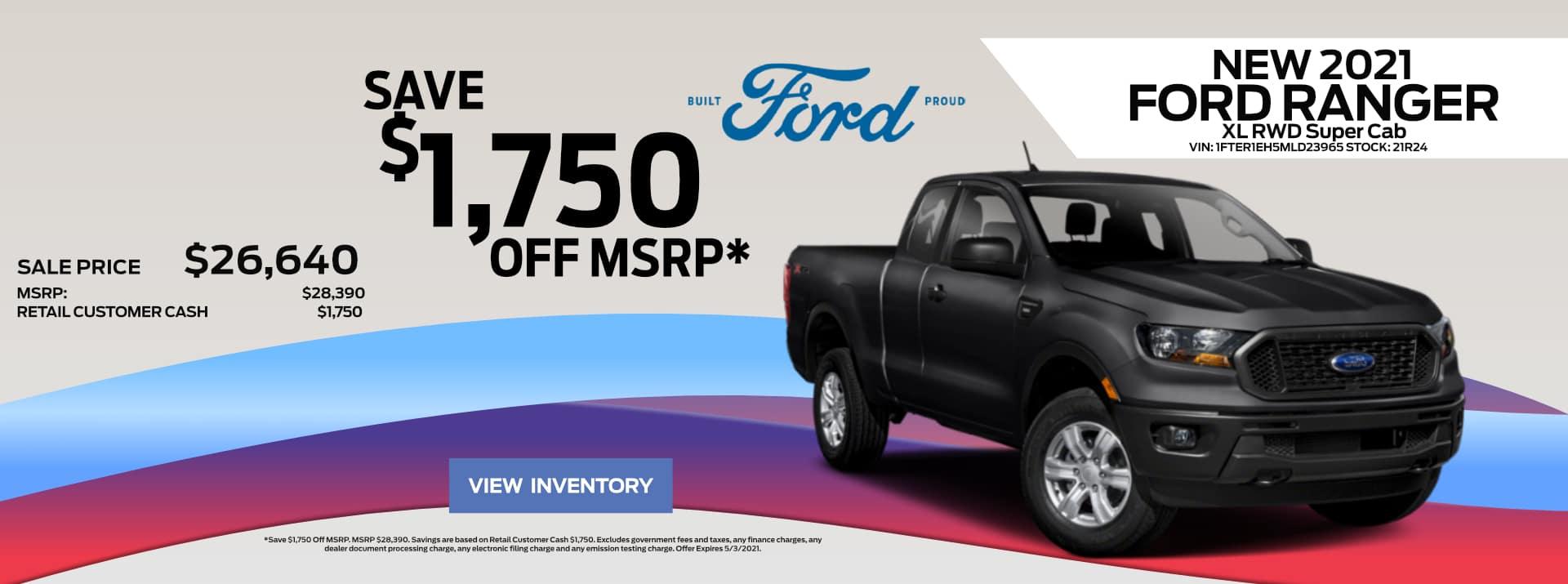 April-2021 Ford Ranger Save PSF
