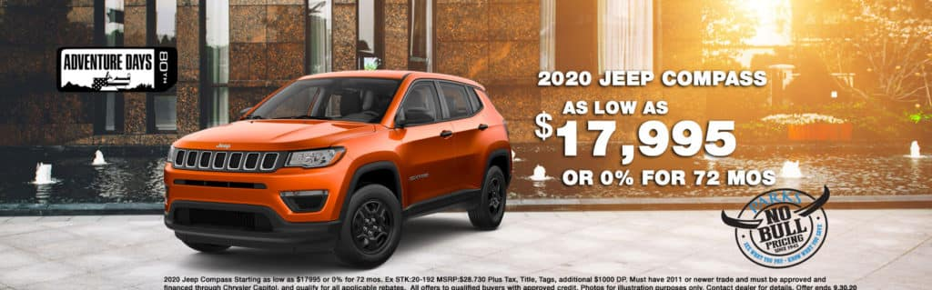 2020 Jeep Compass   Starting as low as $17995 or 0% for 72 mos.