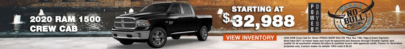 2020 ram 1500 crew cab starting at $32,988