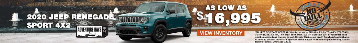 2020 Jeep Renegade sport 4x2 as low as $16,995