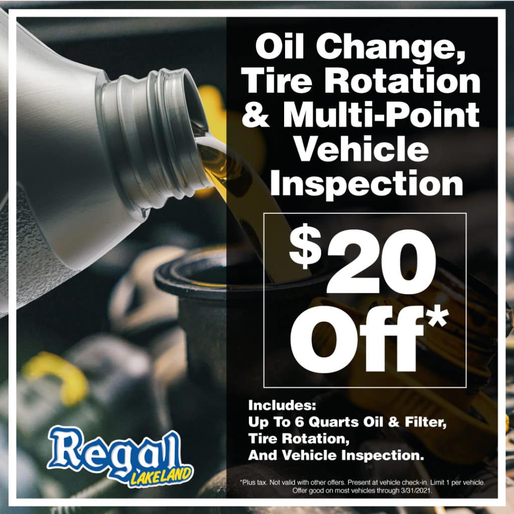 Oil Change, Tire Rotation, Multi-Point Vehicle Inspection