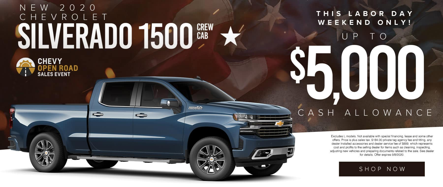 Chevy Open Road Sales Event | 2020 Silverado 1500 Crew Cab | Up To 5,000 Cash Allowance