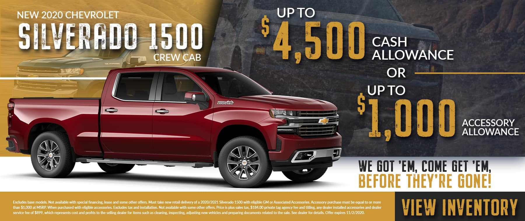We Got 'Em, Come Get 'Em, Before They're Gone | New 2020 Chevrolet Silverado 1500 Crew Cab | Up To $4,500 Cash Allowance OR Up To $1,000 Accessory Allowance