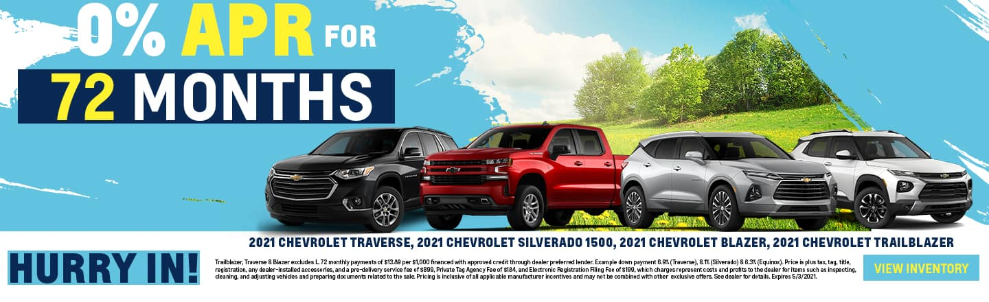 2021 Chevrolet Traverse, 2021 Chevrolet Silverado 1500, 2021 Chevrolet Blazer, 2021 Chevrolet Trailblazer | 0% APR For 72 Months