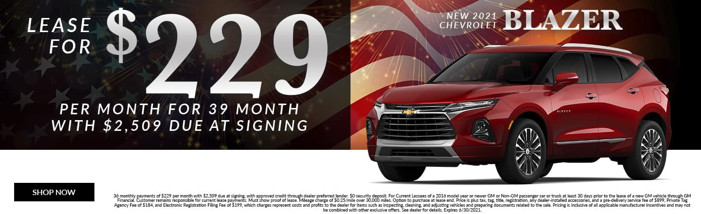Lease For $229 Per Month For 39 Months With $2,509 Due At Signing | New 2021 Chevrolet Blazer
