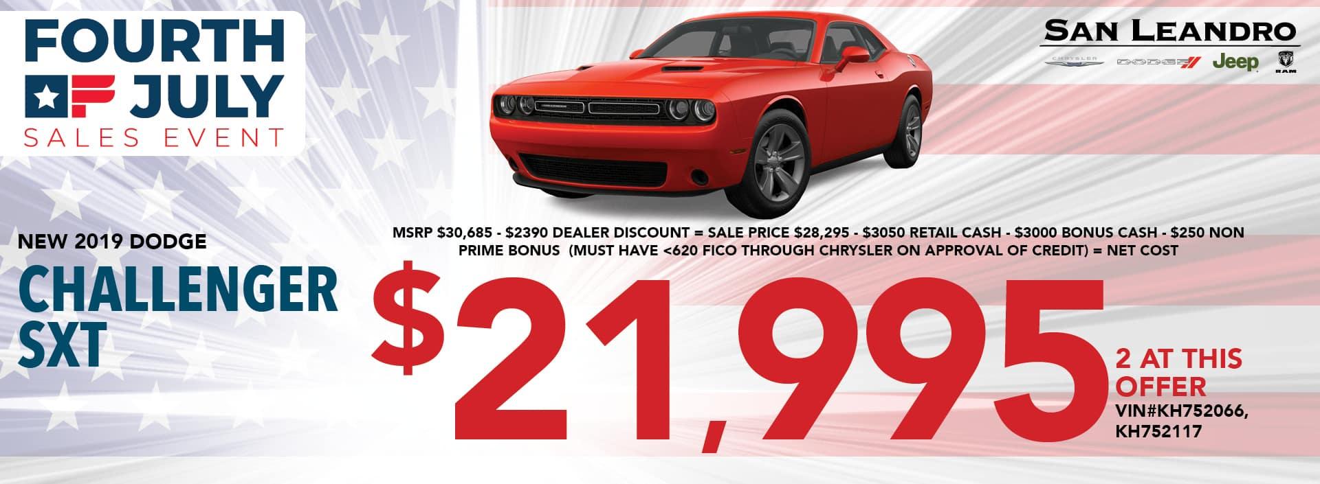 2019 Challenger SXT $21,995