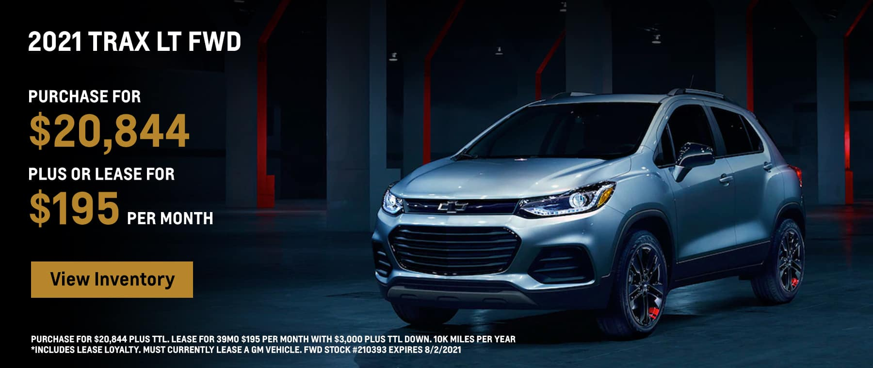 2021 Trax LS Purchase for $20,844 plus or Lease for $195 per month