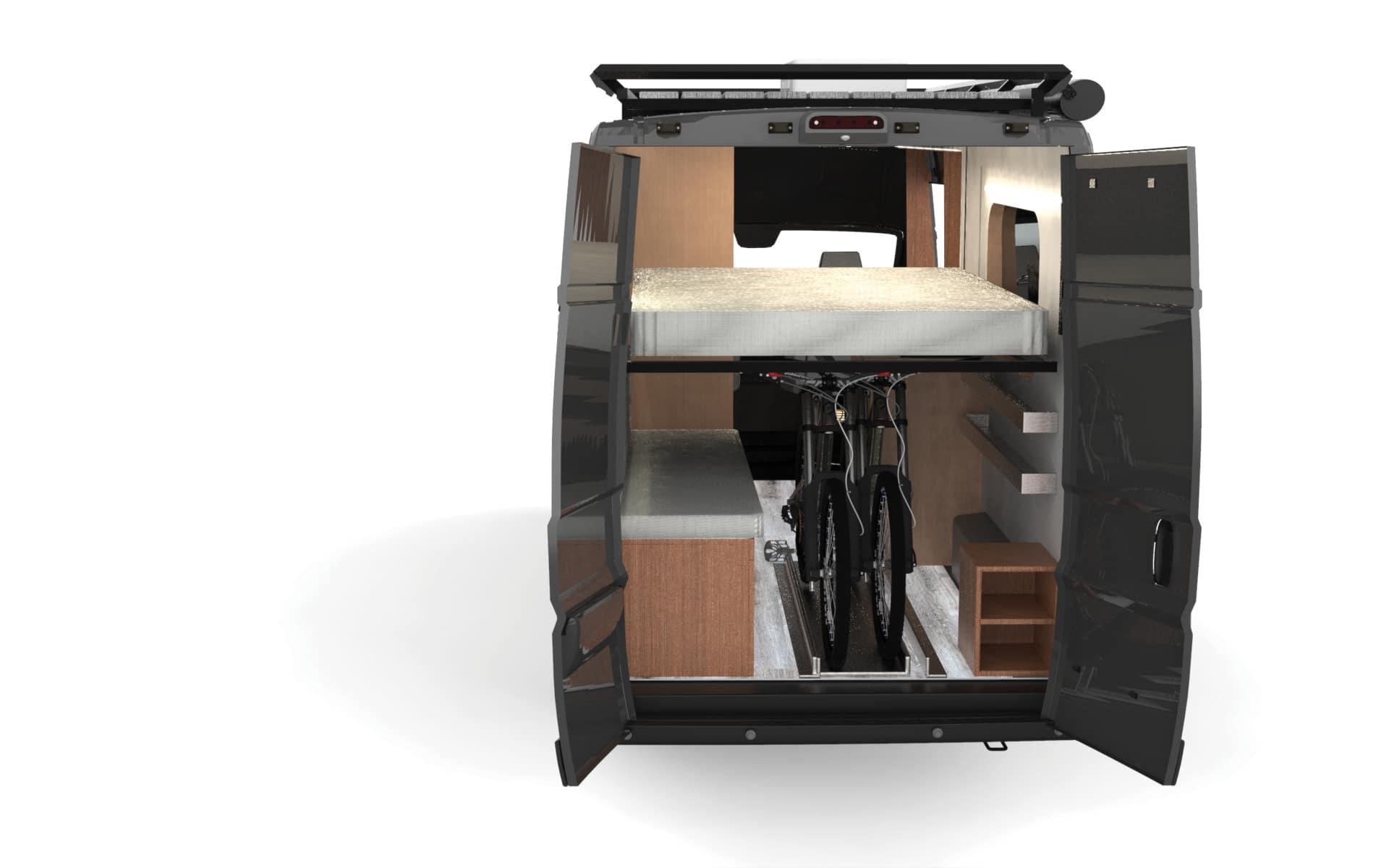 van horn camper van bed position when down