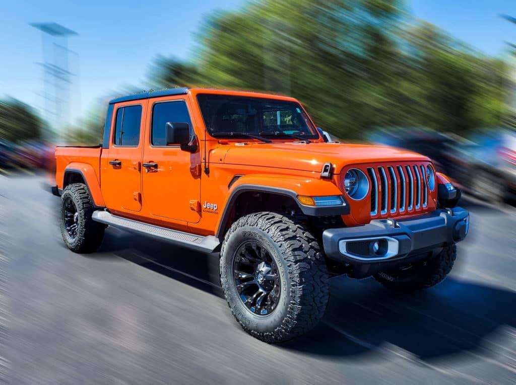 orange gladiator lifted custom wheels van horn